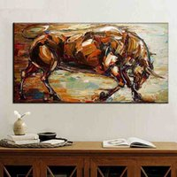 Wholesale Bull Canvas Painting - Unframed hand painted office canvas wall art fighting bull oil painting on canvas Bullfighting wall paintings