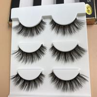 Wholesale feather false lashes - 3 Pairs Mink 3D False Eyelashes Natural Long Crisscross Thick Messy Eyelashes Winged Fake Eyelashes Fashion Beauty Makeup stage Lashes SD60