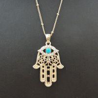 Wholesale Hamsa Necklace Evil Eye - Wholesale-1PC Hamsa Fatima Hand Charm Pendant Necklace Evil Eye Inlaid Turquoise Bohemian Style Gold Accessories 8177