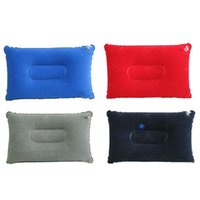Wholesale- New Portable Folding Air Inflatable Pillow Double Sided Flocking Cushion For Outdoor Travel Plane Hotel