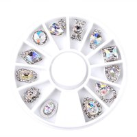 Wholesale Mix Rhinestones Wheel - New 12pcs Box Nail Art Rhinestone Charm Clear AB Alloy Nail Crystal Decorations Wheel 3D Mix Designs Manicure Tools 2017 Sale