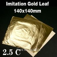 Wholesale Plane Craft - Wholesale- 1000 sheets Imitation Gold Leaf gold foil genuine copper leaf for gilding craft decoration 14*14CM ,free shipping