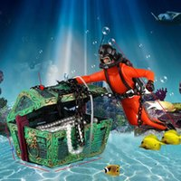 Wholesale hunter figures - New Unique Design Treasure Hunter Diver Action Figure Fish Tank Ornament Landscape Aquarium Decoration Accessories