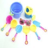 Wholesale Shovel Sand Bucket - Wholesale- 9Pcs Set Seaside Sand Play Water Tools with Sunglasses Shovel Watering Can Bucket Toy Set for Kids A7614