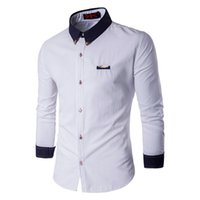 Wholesale Amazing Dress S - Wholesale- AMAZING!!!!7 Color Size M--5XL Slim Fit Solid Shirts Mens Long Sleeve Casual Clothes Dress Shirt Single Breasted 14CS94