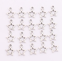 Wholesale Spacer Beads Antique Silver - 2017 Antique Silver Bronze Open Star Spacer Charm Beads Pendants Alloy Handmade Jewelry DIY L138 9.8x12mm