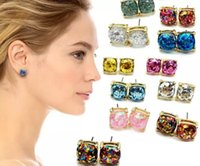 Wholesale rainbow dangle earrings - Hot Sale Kate Style New York Opal Glitter Studs Gold Rainbow Square Glitter Stud Earrings Women Fashion Jewelry Opal Spade Earrings