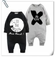 barboteuses bébé design animal achat en gros de-Baby INS barboteuses de lune 2 Design Lettres pour enfants sans sommeil Cotton Blends barboteuses de style à manches longues vêtements pour enfants B
