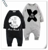 Wholesale Letter B Designs - Baby INS moon rompers 2 Design Children ins letters No sleep Cotton Blends long sleeve style rompers kids clothes B