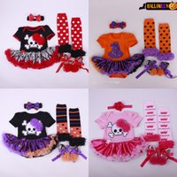 Wholesale Baby Tutu Socks - Newborn baby clothes Halloween conjoined hair band shoes socks four piece suit Baby toddler shoes TUTU dress suit pumpkin skull print 1596