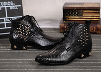 Wholesale Mens Pointed Toe Ankle Boots - European style studded snake skin leather military boots Metal Star black lace up ankle botas men height increasing cowboy boots mens