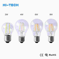 Wholesale E14 Clear Cover - 2W 4W 6W 8W E27 Led Filament Bulb Lamp 110V 220V Clear Glass Cover Edison Bulb A60 Ampoule Led Lights For Indoor Home Lighting