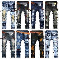 Wholesale Men Jean Trousers - Fashion Vintage Mens Ripped Jeans Pants Slim Fit Distressed Hip Hop Denim COOL Male Novelty Streetwear Jean Trousers Hot Sale