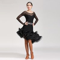 Wholesale latin salsa ballroom dance dress - New Adult Latin Dance Dress salsa tango Cha cha Ballroom Competition Practice Dance Dress Red Black Blue Rose Purple Sexy Long Sleeve Dress