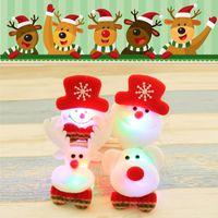 Wholesale Luminous Led Trees - 12pcs free shipping Christmas Gift LED Glowing Santa Snowman Deer Bear Glow Flashing Cartoon Brooch Badge Toy Christmas Luminous Decoration