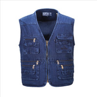 Wholesale Cashmere Jeans - Wholesale- New Hyweacvar Men's Multi Functional Work Vest Multi-Pocket Filming Photographer Denim Jeans Vest