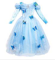 kinder blaues langes kleid 6t großhandel-Off Schulter Mädchen Kleider Blau Langarm Prinzessin Cinderella Plissee Kids Party Kleid Weihnachten Kinder Kleidung Alter 3-12 Jahr
