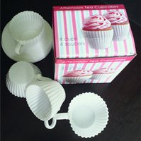 Wholesale Tea Cups Saucers Wholesale - Creative Silicone Cupcake Moulds Afternoon Tea Cupcakes Mold Cake Muffin Cups 4 Cup 4 Saucers Top Quality For Home Baking 6 5ww