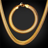 U7 Gold Snake Chain Necklace Pulseira Jóias Set com 18K Stamp Moda Men Jewelry 18K Real Gold Plated Bracelet Necklace Set GNH2238