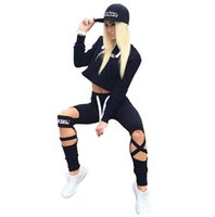 Wholesale Baseball Crop Top - Gagaopt 2017 Sexy Style 2 Piece Set Women Black Pants and Crop Top Suit Fashion Hollow Out Letter Print Sportswear Tracksuit