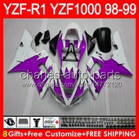 púrpura yamaha r1 al por mayor-gloss purple 8gifts Cuerpo para YAMAHA YZFR1 98 99 YZF1000 YZF-R1 98-99 90NO67 YZF 1000 YZF-1000 YZF R 1 YZF R1 1998 1999 purple black Fairing
