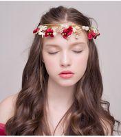 Wholesale Korean Red Dress Accessories - Korean Style Bride Headdress Wedding Crown Hair Ornaments Flowers Head Flower Head Bands Wedding Dress Accessories