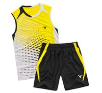 Wholesale Table Tennis Suit - Victor Badminton Shirt table tennis T-Shirt,Adult Kid sleeveless shirt shorts,Victor Training competition suits,Polyester Tennis Jersey Suit