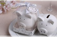 Wholesale Baby Shower Favors Gifts - Christening Baptism Gifts Ceramic Mini Piggy Bank Coin Box with Polka-Dot Bow Souvenirs Baby Shower Party Favors