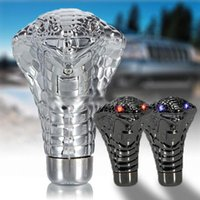 Wholesale Snake Gear Knob - Car Gear Shift Knob LED Blue Eyes Snake Gear Shift Knob Lever Stick Lighted Gears Rally Racing Shifter For Manual Transmission AUP_50A