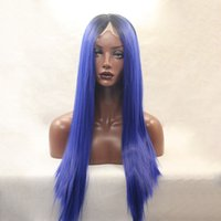 Black Ombre Purple Wig para mulheres pretas Long Synthetic Straight Lace Front Peruca Resistente ao calor Cheap Good Quality Crazy Wigs