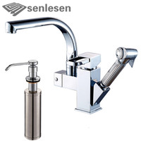 Wholesale Kitchen Soap Dispenser Chrome - Wholesale- Factory Promotion Kitchen Sink Water Faucet with Stainless Steel Soap Dispenser Chrome Finish
