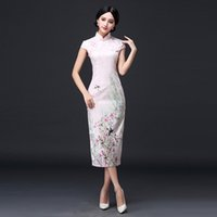 Wholesale Chinese Costume Tang Dynasty - Chinese Costume Tang Dynasty Spring and Summer New Long Style Cotton Qipao Dress Fashion and Vintage Dress for The Long Gown