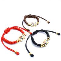 Wholesale Nylon Cord Bracelets - 6 colors Stainless Steel Enamel Charms women jewelry macrame handmade gift bracelet adjustable size black brown red nylon cords bracelet