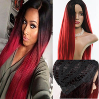 Wholesale Hot lace frontal Wigs Fiber long straight luxury Synthetic Hair Wigs ombre High temperature resistant