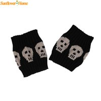 Wholesale Skull Boot Socks - Wholesale- Newly Design Women Skull Pattern Winter Warm Knitted Socks Leg Warmers Boot Crochet Short Socks 160914 Drop Shipping