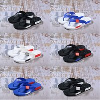 Wholesale Cheap Beach Shoes - (with box) 2017 Originals men NMD Summer Slippers shoes Comfortable Sandals Mens Fashion Leisure Flip Flops Size 40-44 cheap online sale