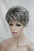 Wholesale Short Gray Wigs - Hot health Super Cute gray grey mix brown root Short Straight Synthetic Hair Full Women's Wig