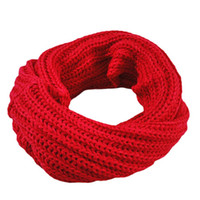 Wholesale Circle Wool - Wholesale-New Design Knitted Circle Wool Scarf Shawl Wrap Winter Warm Collar D31