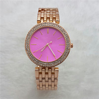 Wholesale Women Rhinestone Waterproof Watch - Fashion Ladies beautiful Wrist Watch Pink Rhinestone Dial luxury Brand Waterproof full Stainless Steel thin watches Women female clock