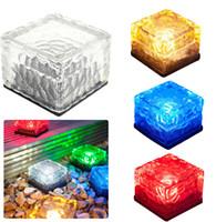 Wholesale Bricks Solar Lighting - Solar Powered Waterproof Glass Ice Cube Brick Blocks LED Light Outdoor Garden Path Lamp Underground Solar Pathway Light High quality