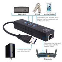 3 portas USB3.0 HUB USB Gigabit Ethernet Lan RJ45 Adaptador de rede Hub para 1000Mbps Laptop Mac PC