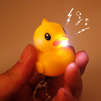 Wholesale Led Light Rubber Ducks - Creative Led Yellow Duck Keychain with Sound Animal Series Rubber Ducky Key Ring Toys Doll gift free shipping