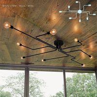 candeeiros de teto de ferro forjado venda por atacado-Ferro forjado 4 cabeças 6 cabeças 8 cabeças Múltipla haste lâmpada de teto lâmpada personalidade criativa retro nostalgia café bar luz de teto