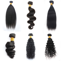 Wholesale Mix Hair Color - Kiss Hair 3 Bundles 8-28 inch Brazilian Virgin Remy Human Hair Yaki Straight Deep Curly Body Wave Straight Color 1B Black