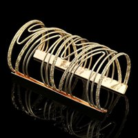 Lady Fashion Luxurious Gold / Silver Plated Personalidade Exagerar Punk Cuff Braceletes Pulseiras para Mulheres 2015