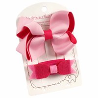 Wholesale Clips Accessories Baby Girl Felt - Boutique Hair Bow With Ribbon Covered Hair Clip Felt Headband Girl Kid Baby Toddler Hair Accessories Card Packing