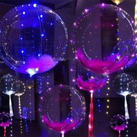 Wholesale Wedding Balloons Clear - Luminous Led Balloon Colorful Transparent Round Bubble Decoration Party Wedding Balloons Lighting in Dark 3M String c222