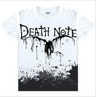 Wholesale Death Notes - Wholesale- Death Note T Shirts Man Short Sleeved Men T-Shirt fashion Tops China Size Mens Top Cotton Tees Free Shipping Casual Tshirts