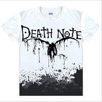 Wholesale Wholesale Men Shirts China - Wholesale- Death Note T Shirts Man Short Sleeved Men T-Shirt fashion Tops China Size Mens Top Cotton Tees Free Shipping Casual Tshirts