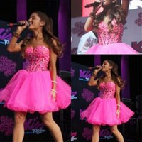 mini vestidos de baile rhinestones venda por atacado-Hot Pink Mini Curto Querida Homecoming Vestidos Frisados Strass Backless Basco Cintura Doce 16 Curto Vestidos de Cocktail Ba6693